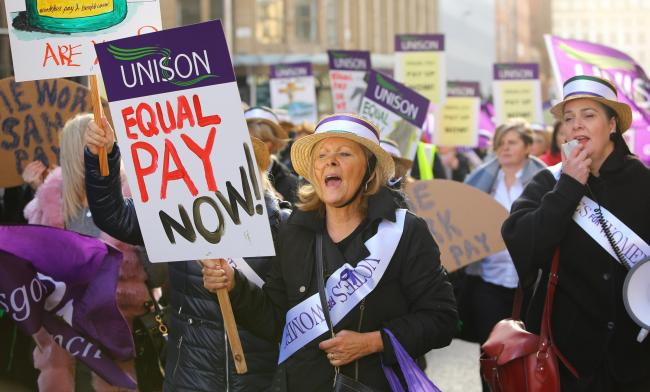 Women in Glasgow took part in a pay strike last year... and won
