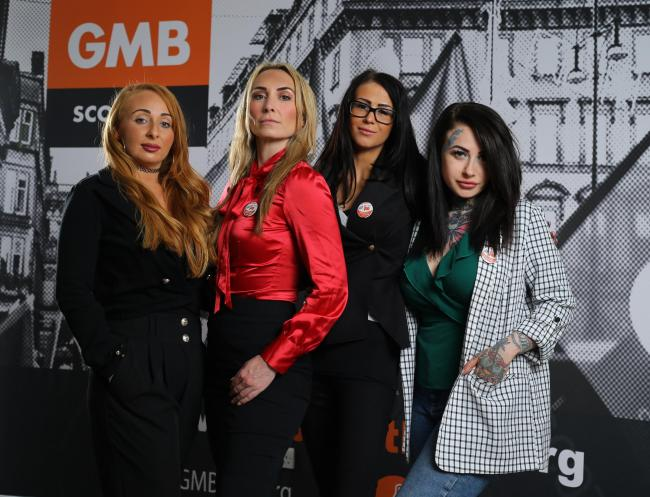 Pictured at the GMB offices in Glasgow are Debbie, Megara, Kayleigh and Kirstie  Picture: Colin Mearns