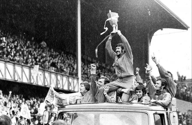JOHN GREIG PARADES THE EUROPEAN  CUP WINNERS CUP AT IBROX AFTER RANGERS BEAT MOSCOW DYNAMO IN MAY 1972