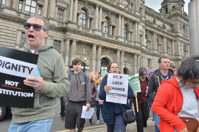Living Rent Protest outside Glasgow City Chambers..20/08/19.Kirsty Anderson.Newsquest Herald and Times...