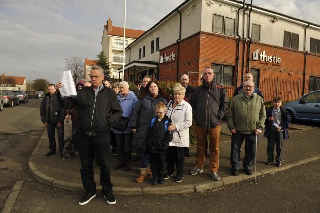 Residents have previously protested outside Thistle's office  Picture: Jamie Simpson