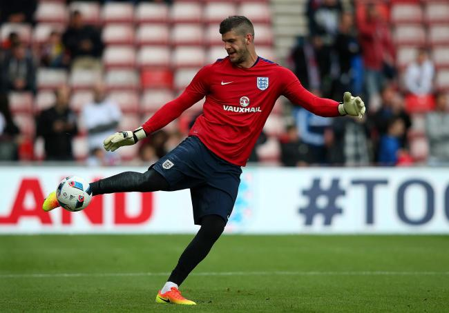 Fraser Forster warms up ahead of an International Friendly match between England and Australia in 2016. Picture: Getty