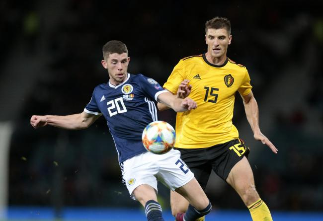 Scotland's Ryan Christie battle for the ball with Belgium's Thomas Meunier during the UEFA Euro 2020 qualifying group I match at Hampden Park, Glasgow. PA Photo. Picture date: Monday September 9, 2019. See PA story SOCCER Scotland. Photo credit s