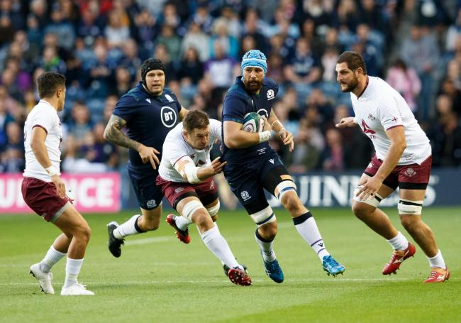 EDINBURGH, SCOTLAND - SEPTEMBER 06: Blade Thomson of Scotland (2nd right) in action during the international match between Scotland and Georgia at Murrayfield on September 6, 2019 in Edinburgh, United Kingdom. (Photo by Robert Perry/Getty Images).