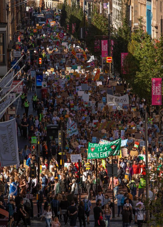 Climate Strike march, Glasgow. Pictured are marchers on Sauchiehall Street on their way to George Square...  Photograph by Colin Mearns.20 September 2019..