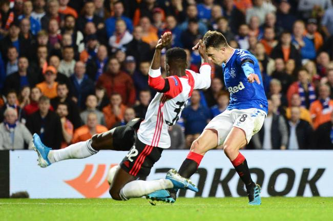 GLASGOW, SCOTLAND - SEPTEMBER 19: Ryan Jack of Rangers FC shoots during the UEFA Europa League group G match between Rangers FC and Feyenoord at Ibrox Stadium on September 19, 2019 in Glasgow, United Kingdom. (Photo by Mark Runnacles/Getty Images).