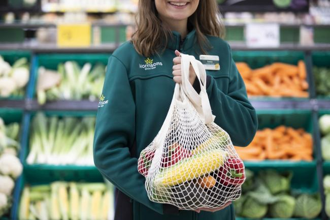 Morrisons is bringing back string bags to allow customers to a plastic-free way of carrying home loose fruit and vegetables. Picture: Fabio De Paola/PA Wire.