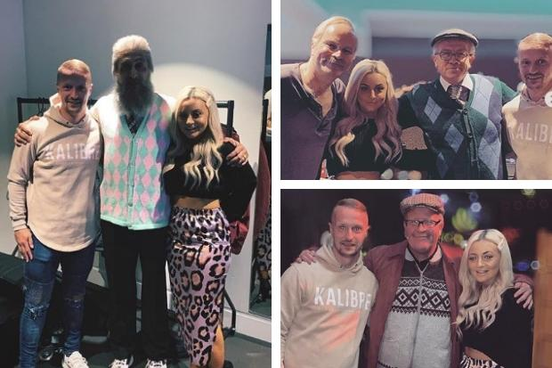 Celtic star Leigh Griffiths mets the cast of Still Game at the Hydro