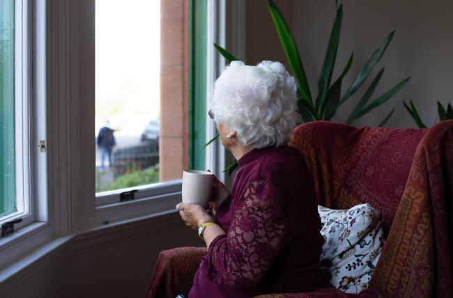 An elderly woman pictured drinking a cup of coffee...  Photograph by Colin Mearns.1 October 2019 ..