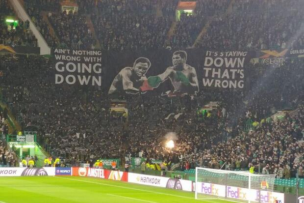 Defiant Celtic fans unveil Muhammad Ali inspired banner before Cluj clash as fireworks set off in further UEFA punishment risk