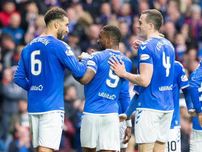 Connor Goldson (left) celebrates scoring his side's second goal of the game during the Ladbrokes Scottish Premiership match at Ibrox