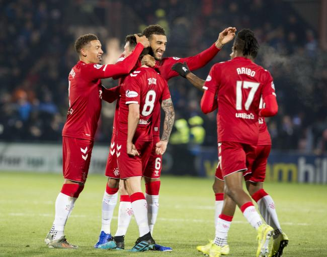 Ryan Jack celebrates with James Tavernier, Connor Goldson  and Joe Aribo after scoring the second goal during the Ladbrokes Scottish Premiership match at Global Energy Stadium