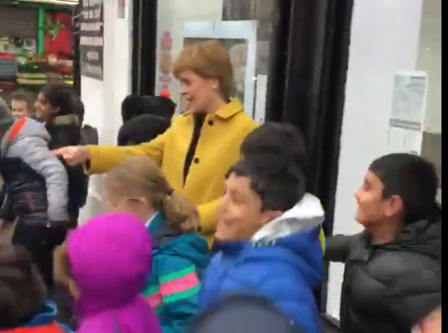 Nicola Sturgeon dances with primary school pupils