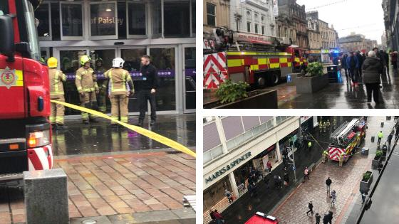 Emergency crews on scene as roof collapses at Paisley shopping centre. Image: @BenedettaAlber1