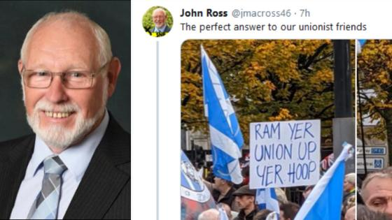 South Lanarkshire council leader apologises for 'ram yer union up yer hoop' tweet