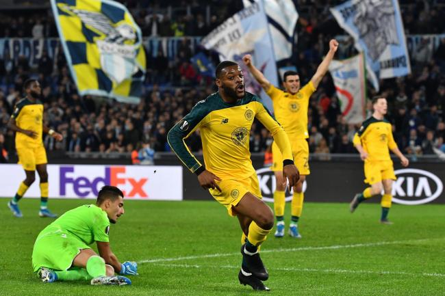 Olivier Ntcham celebrates after scoring a late winner for Celtic against Lazio. Photo: TIZIANA FABI/AFP via Getty Images).