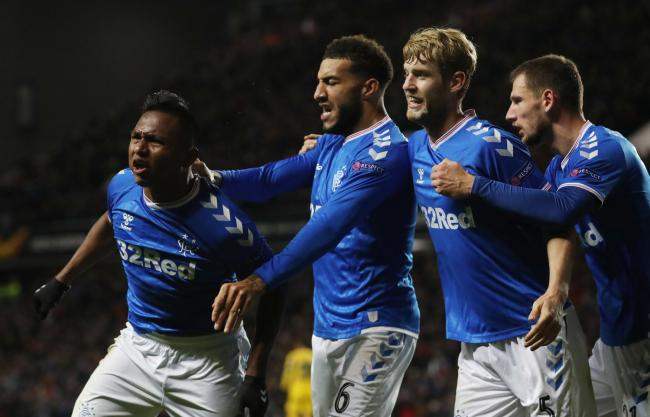 Alfredo Morelos of Rangers celebrates scoring the opening goal during the UEFA Europa League group G match