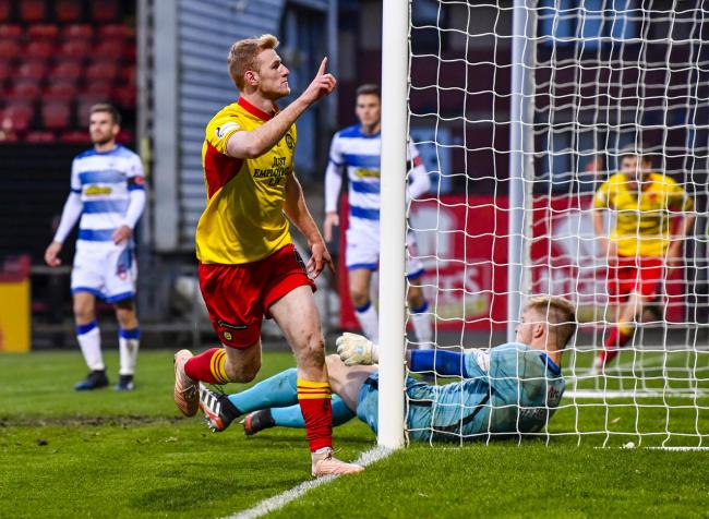 GLASGOW, SCOTLAND - NOVEMBER 09: Partick Thistle's Shea Gordon celebrates mafter scoring to make it 2-1 during the Ladbrokes Championship match between Partick Thistle and Greenock Morton, at The Energy Check Stadium at The Energy Check Stadium at Fir