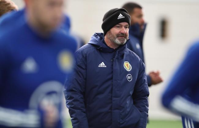 Scotland Head Coach Steve Clarke is seen during a Scotland training session ahead of their European Qualifying match against Kazakhstan at Oriam. Picture: Getty