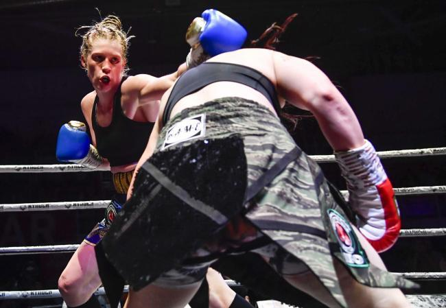Hannah Rankin on her way to winning the IBO super-welterweight title with a unanimous points decision over Sarah Curran in Paisley