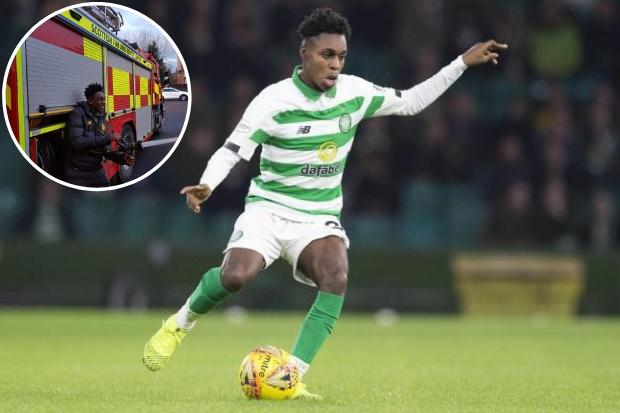Celtic star Jeremie Frimpong jokes around with firefighters on his way to driving test