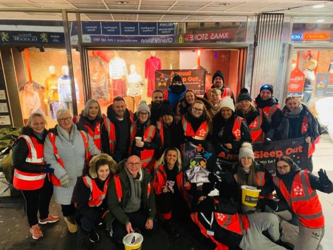 Supporters of the Halliday Foundation on their sleep out in Glasgow