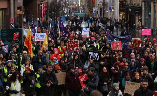 Supporters of the University and College Union's strike gathered in Buchanan Street Picture: Colin Mearns
