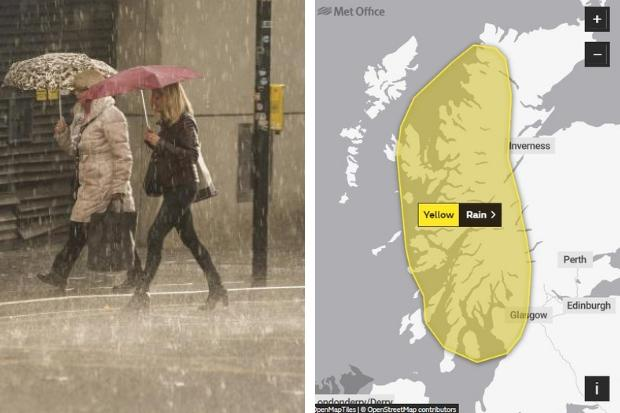 Severe weather warning issued in Glasgow with rain expected to cause flooding and travel disruption