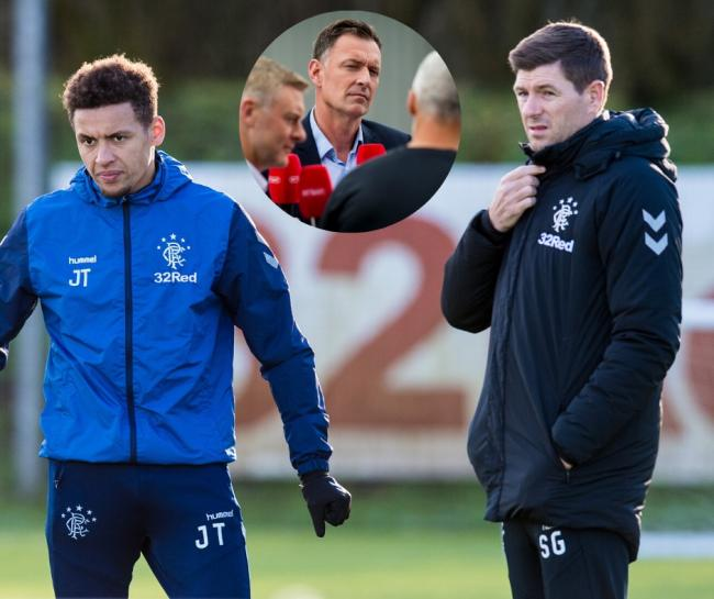 James Tavernier and Steven Gerrard with Chris Sutton (inset)