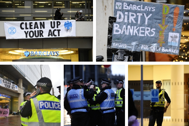 Dozens of police called to Barclays in Glasgow city centre as extinction rebellion protest takes place