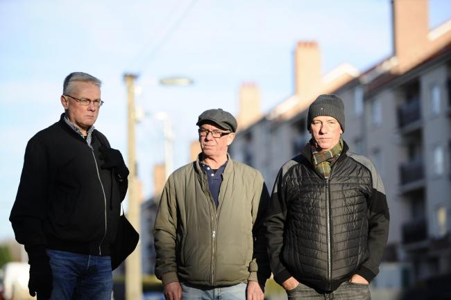 Toryglen residents L-R: Ian Paterson, Eddie McCabe and David Crockwell on Kerrycroy Avenue   Picture: Jamie Simpson