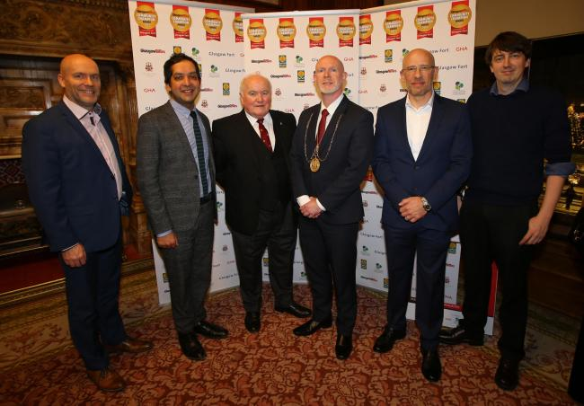Donald Martin, editor in chief Herald and Times; Jehan Weerasinghe, managing director of GHA; Tom McInally, Deacon Convener of the Trades House; Depute Lord Provost Philip Braat; Phil Goodman, centre director, Glasgow Fort; and our editor Callum Baird