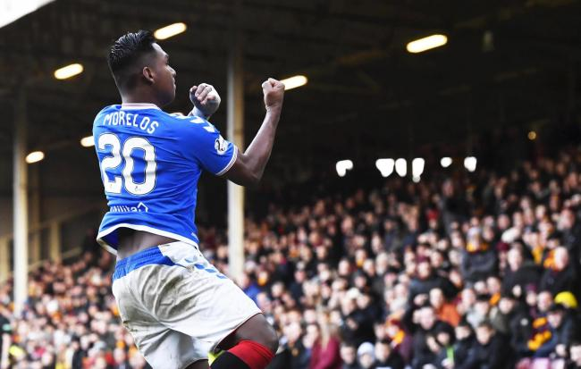 Rangers striker Alfredo Morelos gestures at Motherwell fans after scoring at Fir Park on Sunday. Photo: Rob Casey/SNS Group.