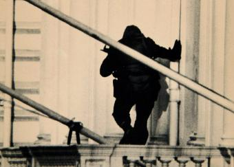 A member of the SAS storms the Iranian Embassy to end the siege