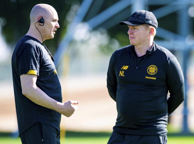 Celtic manager Neil Lennon, right, at a training session in Dubai. Photo: Craig Williamson/SNS Group.