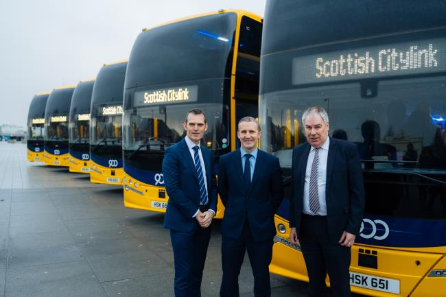 Chief Executive of Metroline (a ComfortDelGro subsidiary) Sean O'Shea, Cabinet Secretary for Transport, Infrastructure and Connectivity Michael Matheson and Stagecoach Scotland Regional Director Robert Andrew.