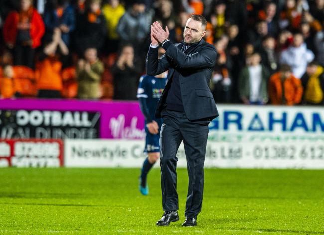 DUNDEE, SCOTLAND - DECEMBER 27: Dundee Head Coach James McPake at Full Time during the Ladbrokes Championship match between Dundee Utd and Dundee at Tannadice Park on December 27, 2019 in Dundee, Scotland.  (Photo by Ross Parker / SNS Group).