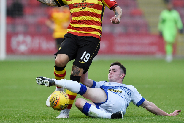 Greenock Morton defender Lewis Strapp tracked by Renfrewshire rivals St Mirren