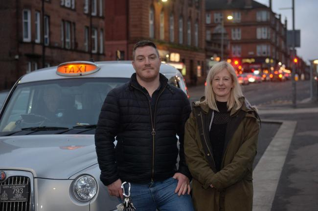 My Shawlands BID manager Lisa McLaughlin and Paul Smyth the General Manager of 'The Shed' photographed here outside The Shed nightclub in Shawlands at the taxi rank on Langside Avenue. .Business in Shawlands have taken over funding taxi marshals