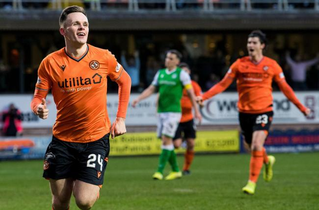 DUNDEE, SCOTLAND - JANUARY 19: Lawrence Shankland celebrates equalising for Dundee United during the William Hill Scottish Cup match between Dundee Untied and Hibernian, at Tannadice, on January 19, in Dundee, Scotland. (Photo by Ross Parker / SNS Group).