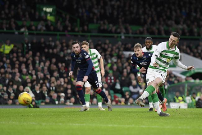 Callum McGregor scores from the spot against Ross County.
