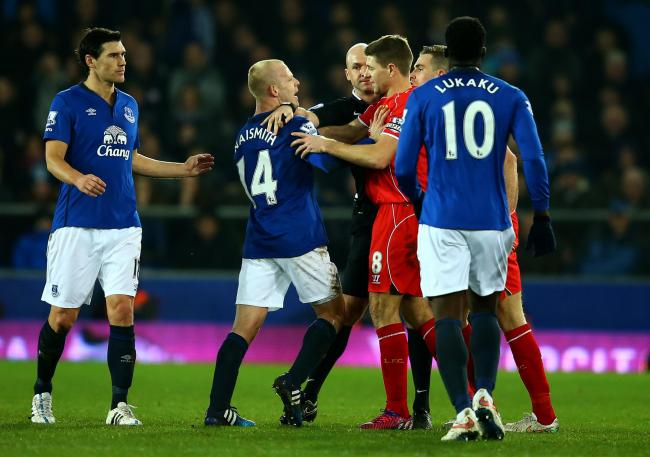 Steven Gerrard and Steven Naismith clash during a Merseyside derby in 2015