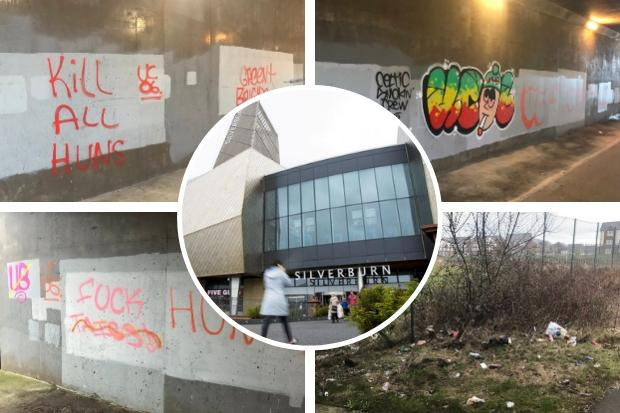 Vile 'kill all huns' graffiti appears on busy walkway close to Silverburn shopping centre
