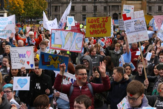 Lifetime of Love rally for care experienced people in Glasgow  Picture: Colin Mearns
