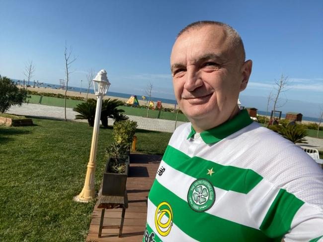 Celtic-daft Albanian president Ilir Meta hails Hoops win while donning club  jersey   Glasgow Times