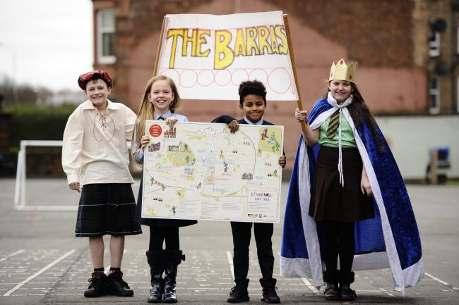 Pupils (left to right) Adam Cairns, Gabrielle Marey, Edanne Gomes and Morgan Cairns revealed the map at a special assembly this week.