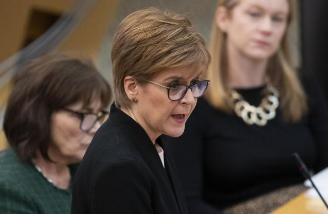 First Minister Nicola Sturgeon in the debating chamber during FMQs at the Scottish Parliament in Edinburgh. PA Photo. Picture date: Thursday February 6, 2020. See PA story SCOTLAND Questions. Photo credit should read: Jane Barlow/PA Wire.