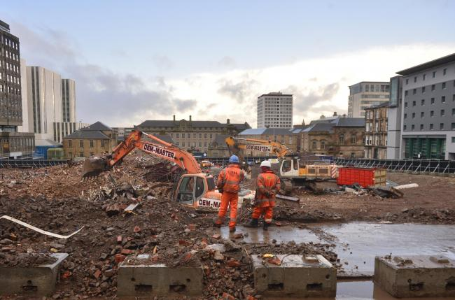 GLASGOW, SCOTLAND - FEBRUARY 10: a general view of the site of the former Strathclyde Police Headquarters on Pitt Street that has now been demolished to make way for a new development on February 10, 2020 in Glasgow, Scotland. (Photo by Jamie Simpson/Hera