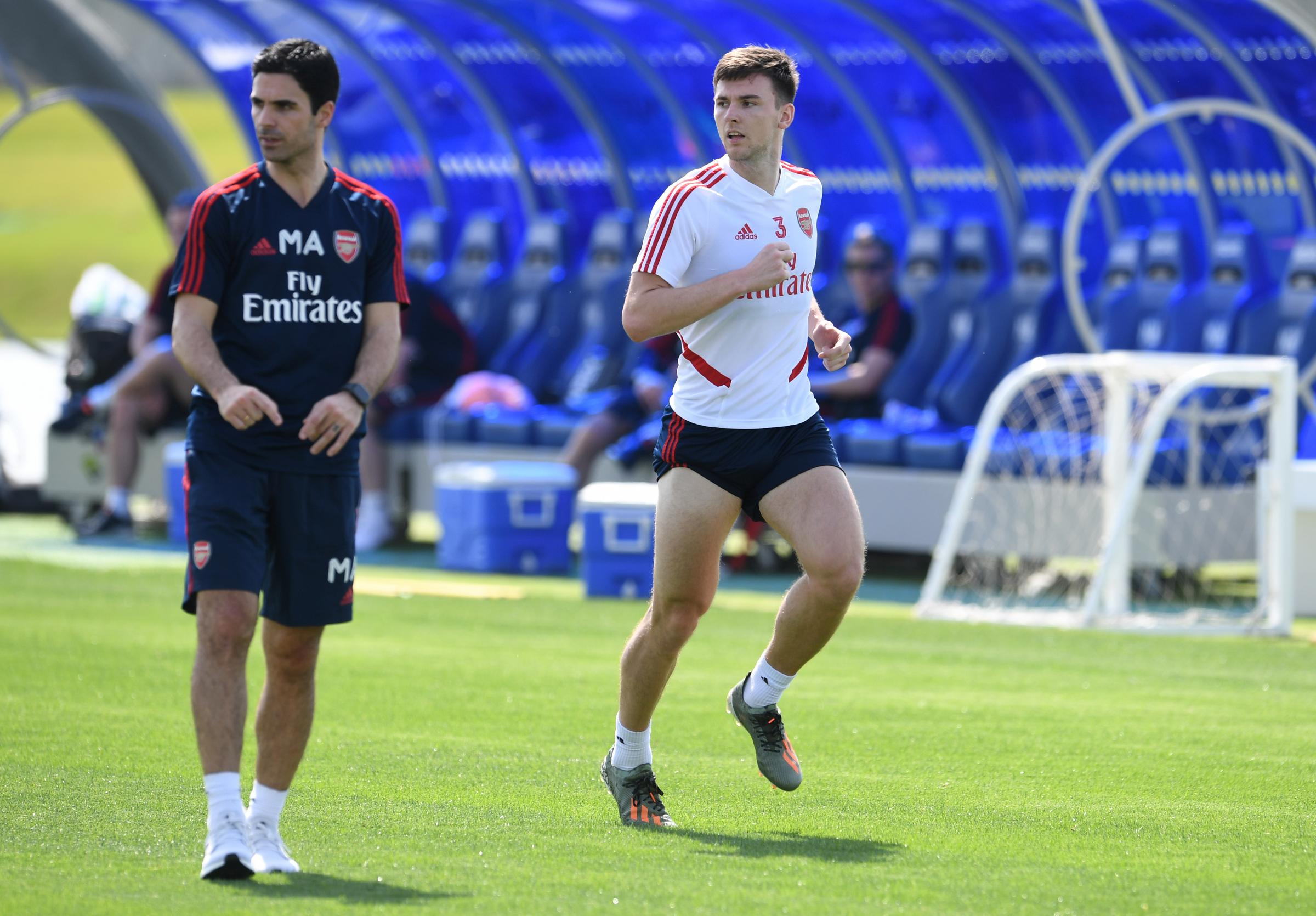 Kieran Tierney in full training with Arsenal and Mikel Arteta after shoulder injury