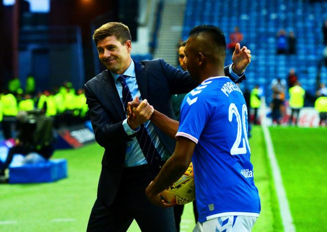Rangers manager Steven Gerrard with Alfredo Morelos